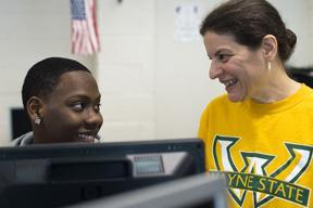 Program Facilitator Kathie Fuller and student Desmond Ashwood. Photo: Rachel Woolf/Special to The Detroit Free Press