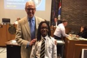 Congratulations to sixth grader Brandon (First Place) He was invited by Mayor Siver to read his essay at the City Council Meeting.