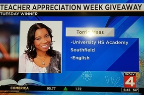 Ms. Maas on Channel 4 chosen as Teacher of the Week May 2018